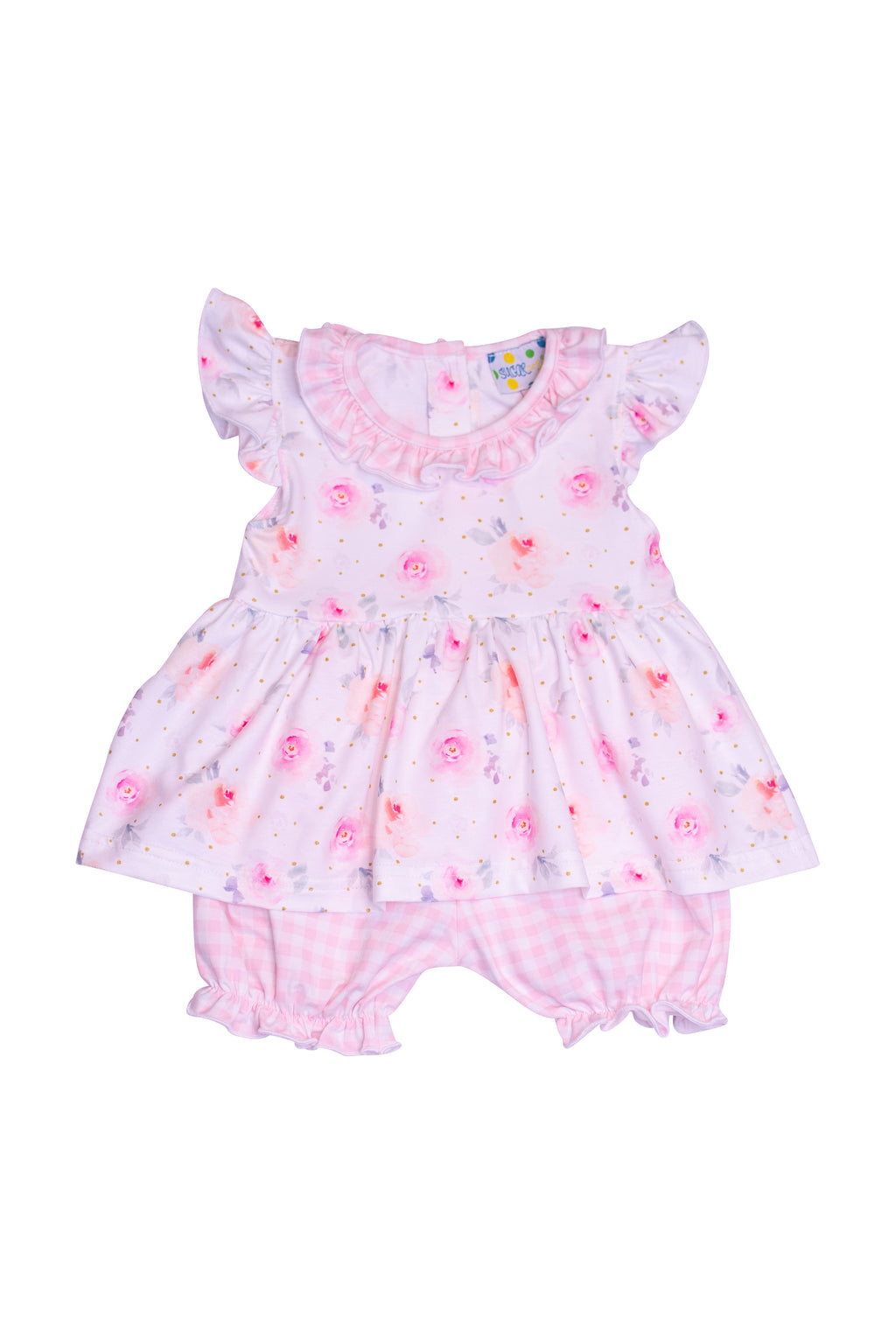 Girls Knit Floral/Check Bloomer Set