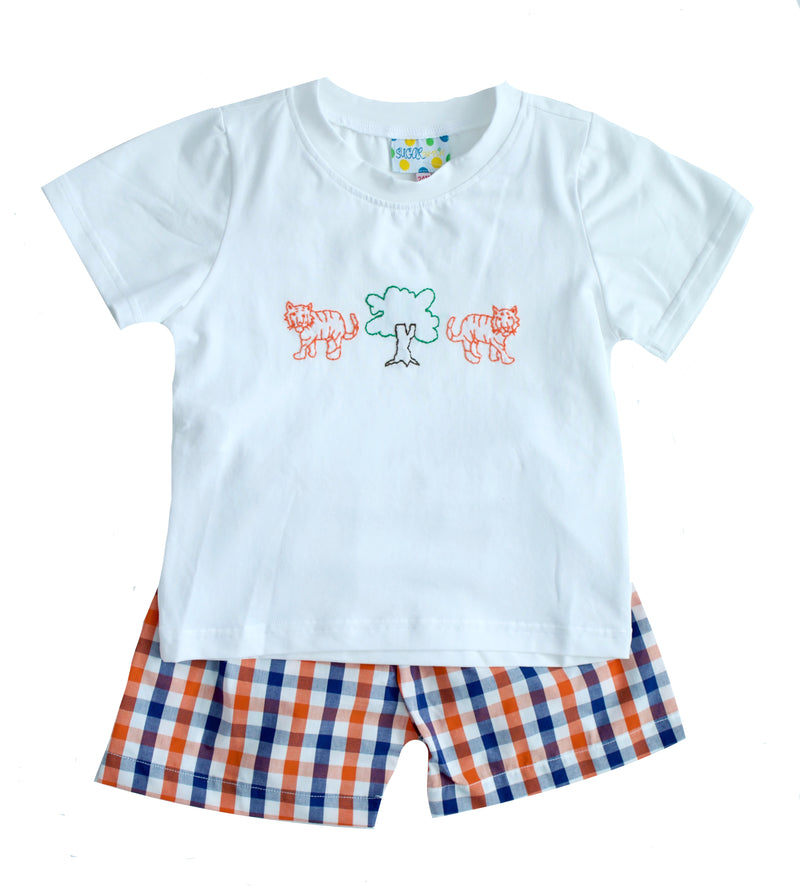 Boys Embroidered Tiger Short Set