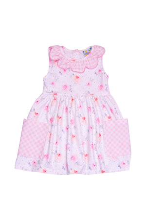 Girls Knit Floral/Check Dress