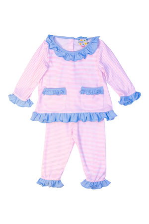 Girls Knit Pink Stripe/Blue Ruffle Pant Set