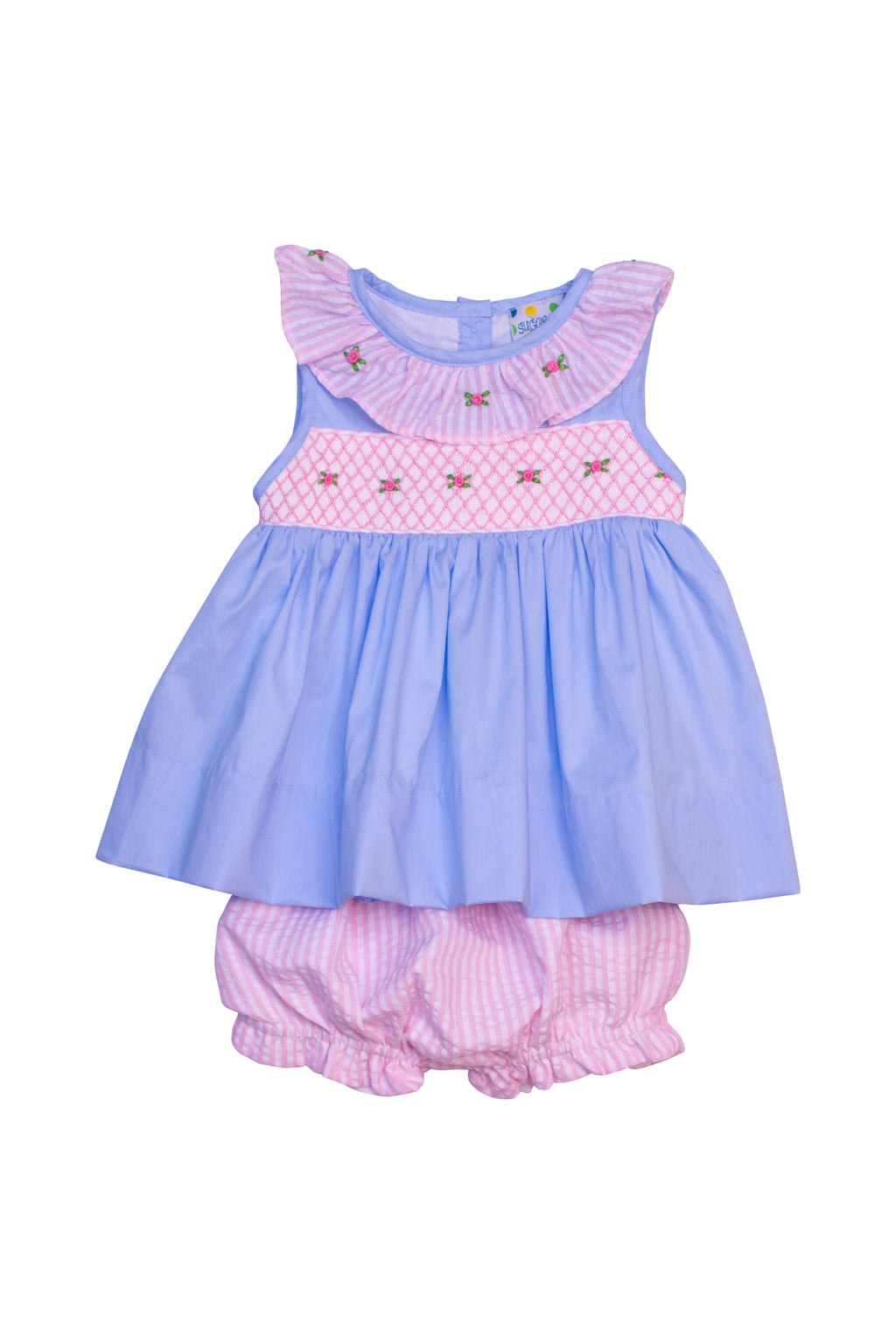 Girls Blue/Pink Seersucker Smocked Floral Bloomer Set