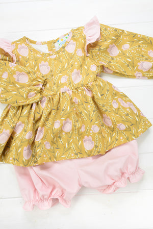 Girls Mustard Floral Bloomer Set