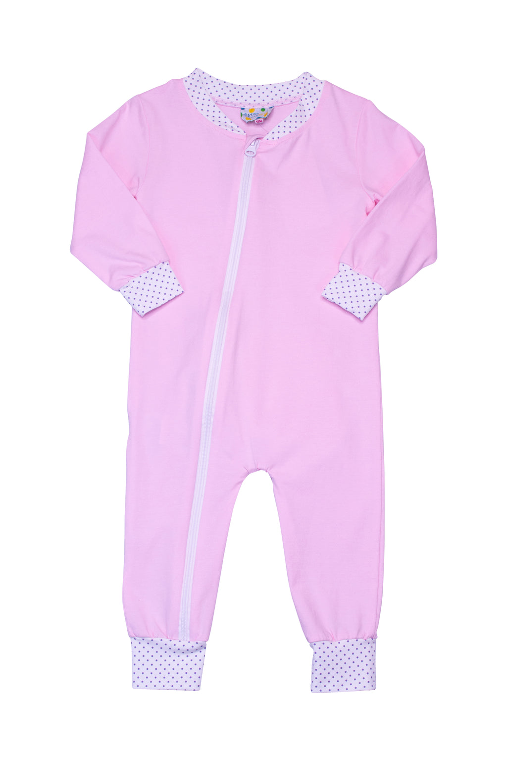 Girls Knit Pink/Lavender Dot Flap PJ