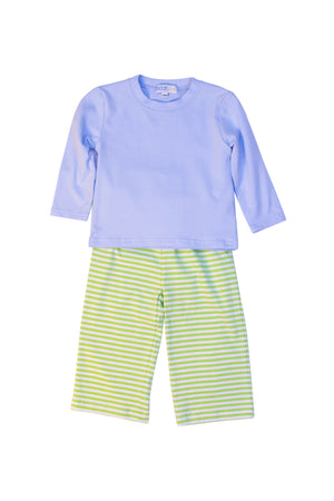 Boys Knit Blue/Green Stripe Pant Set
