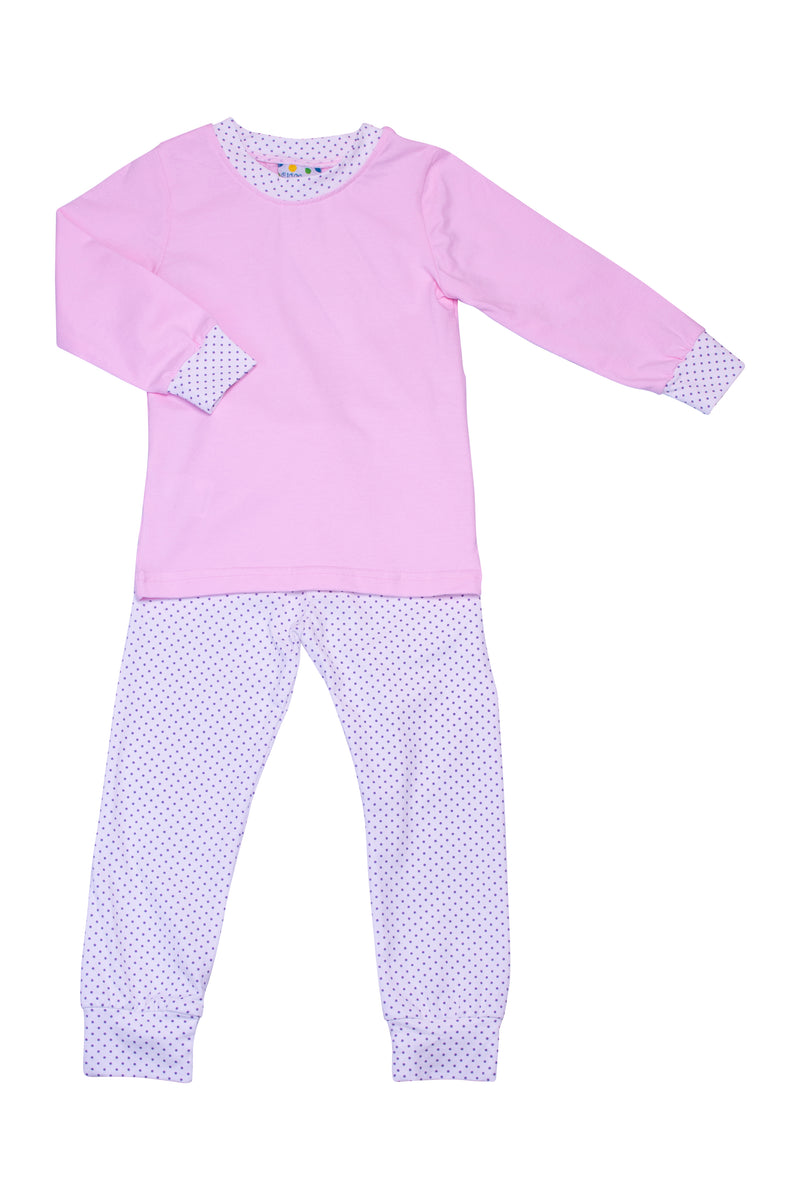 Girls Knit Pink/Lavender Dot PJ