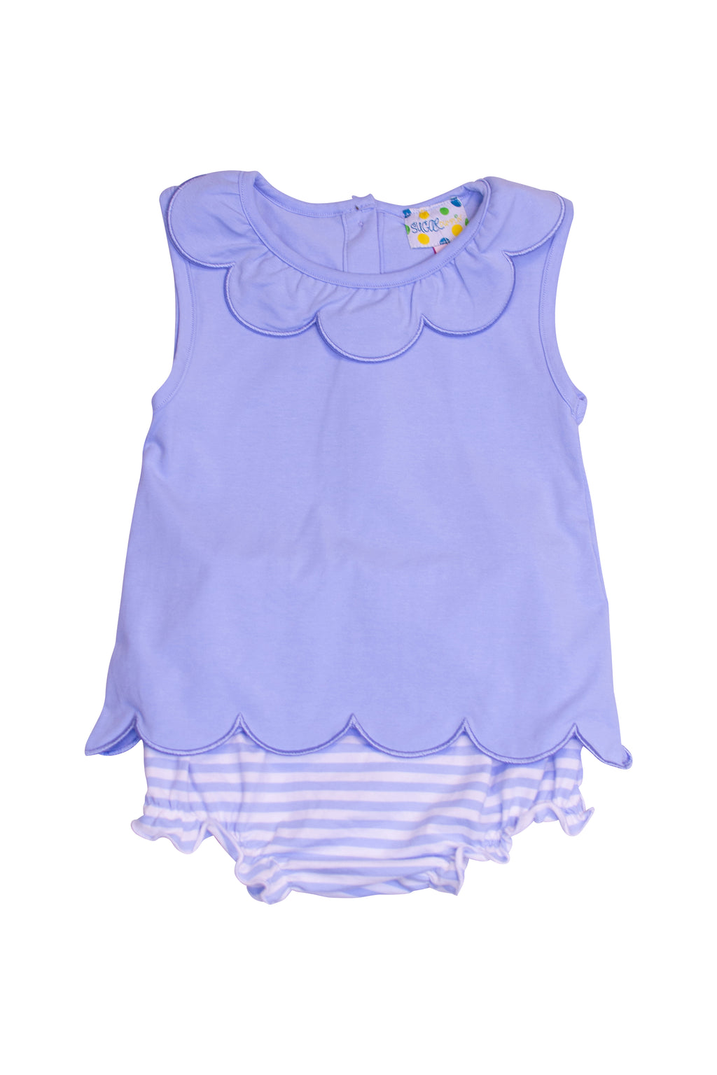 Girls Blue Knit Scalloped Diaper Set