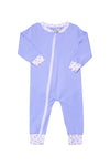 Girls Knit Blue/Floral Flap PJ