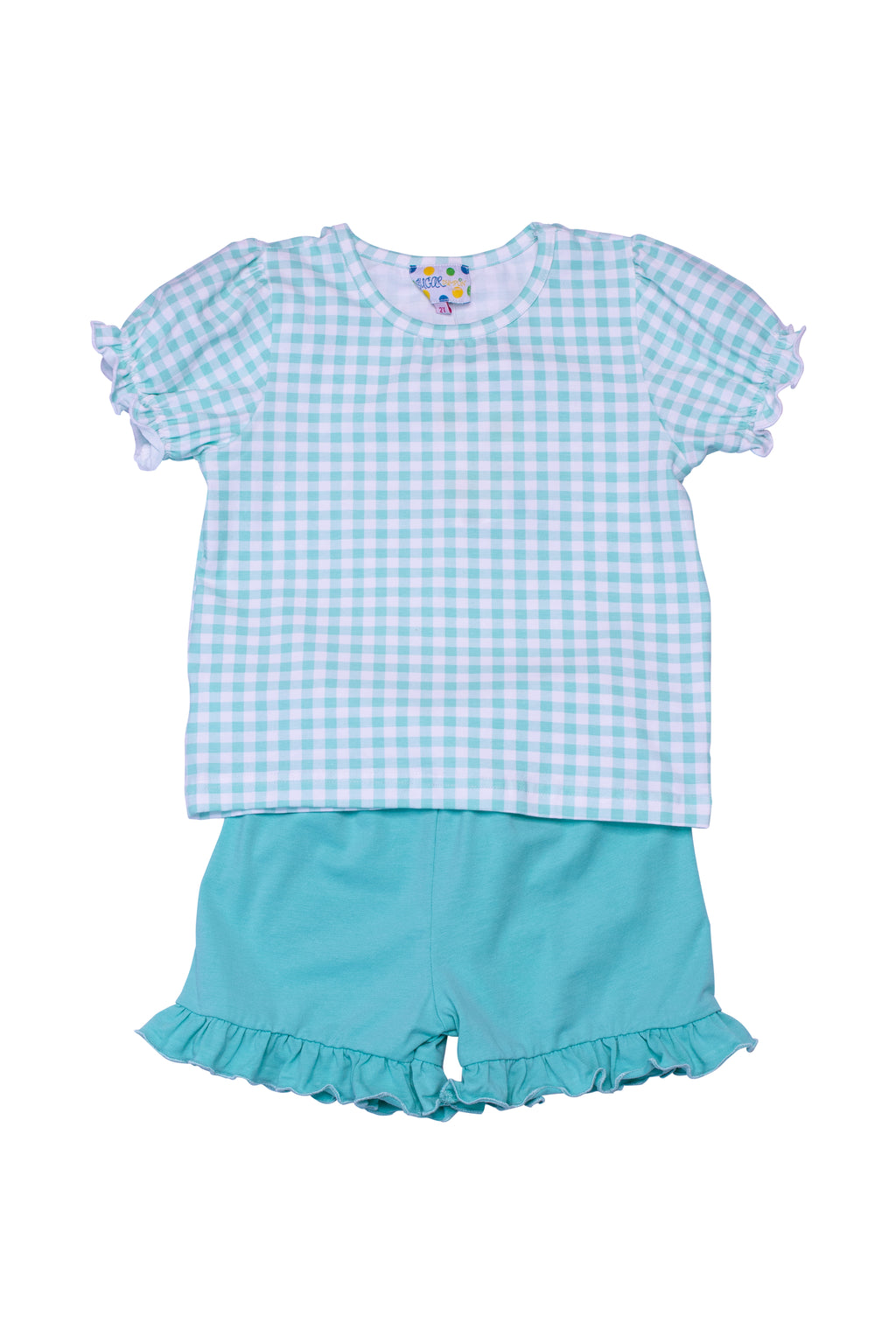 Girls Knit Mint Check Shorts Set