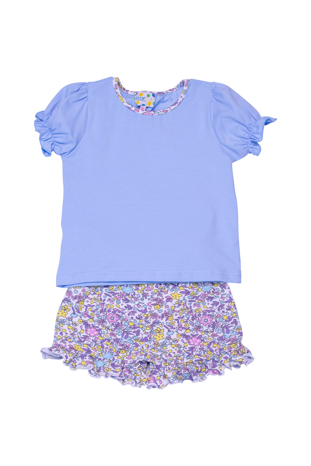Girls Knit Blue/Floral Shorts Set