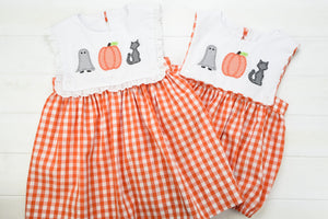 Girls Halloween Trio Button-On Dress