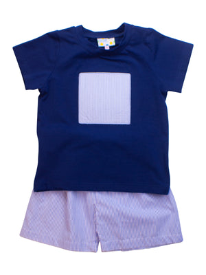 Boys Navy/Blue Stripe Square Shorts Set