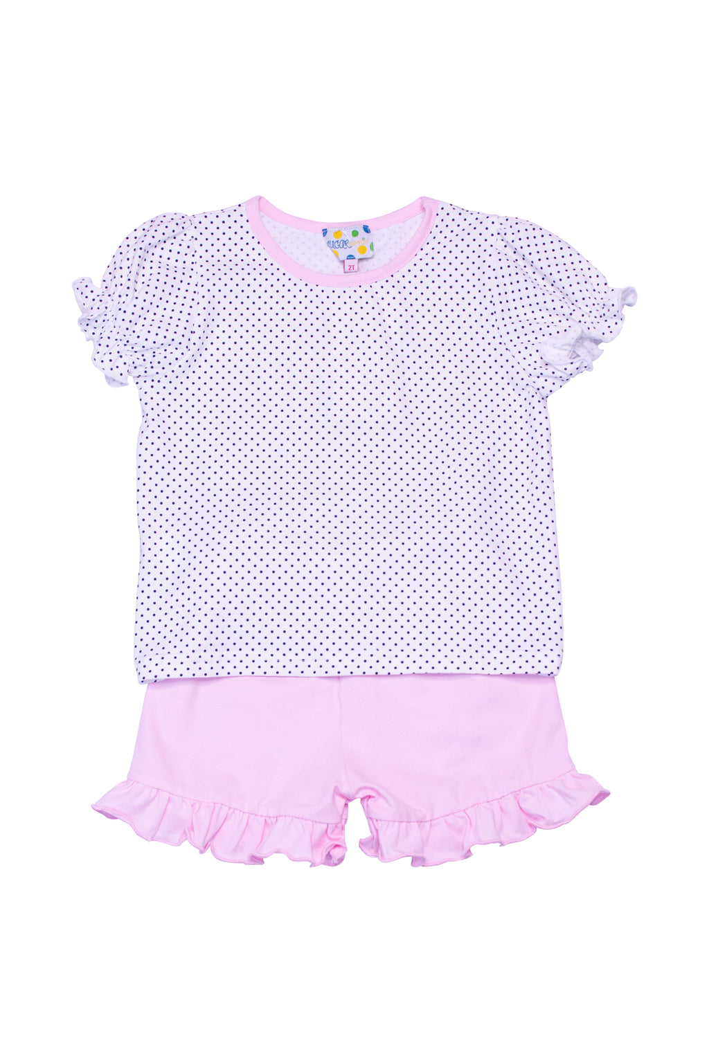 Girls Knit Navy Dot/Pink Shorts Set