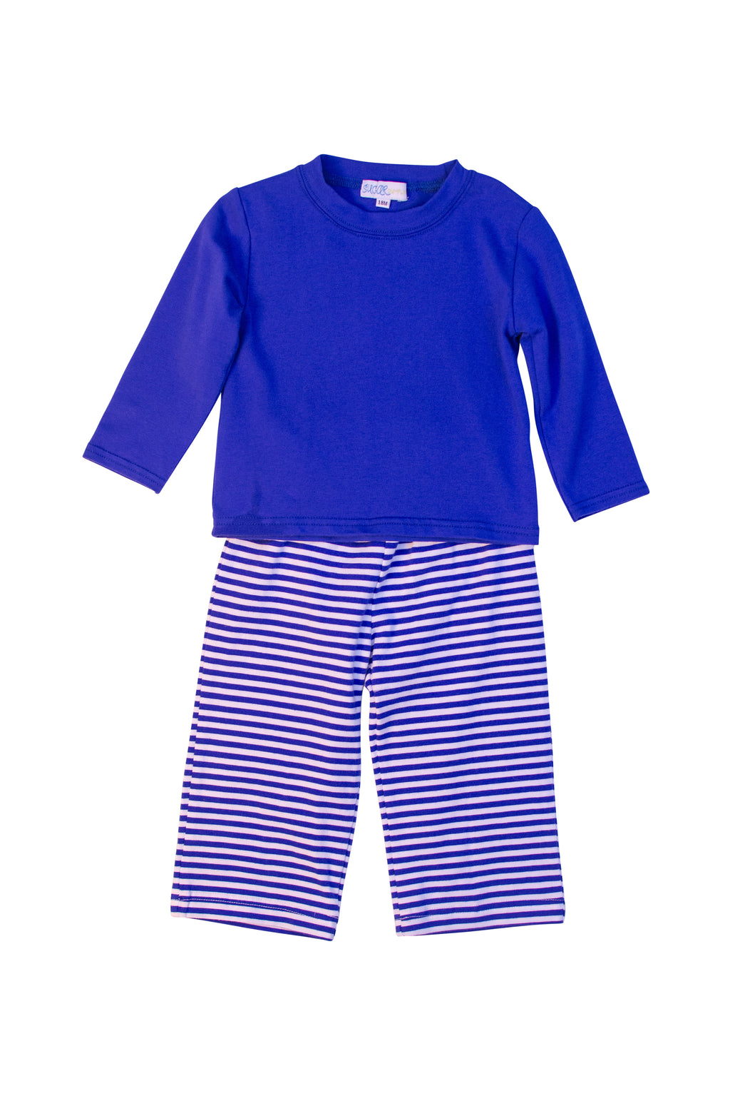 Boys Knit Dark Blue Stripe Pant Set