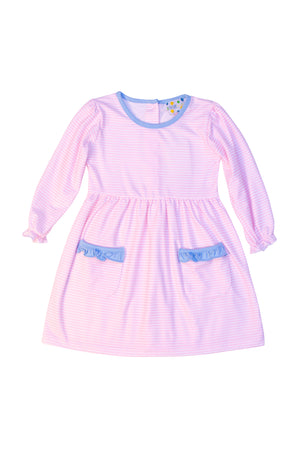 Girls Knit Pink Stripe/Blue Pocket Dress