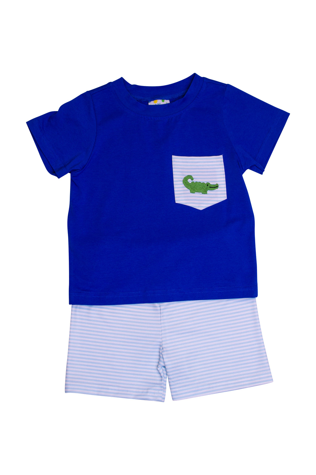 Boys Knit Embroidered Alligator Shorts Set
