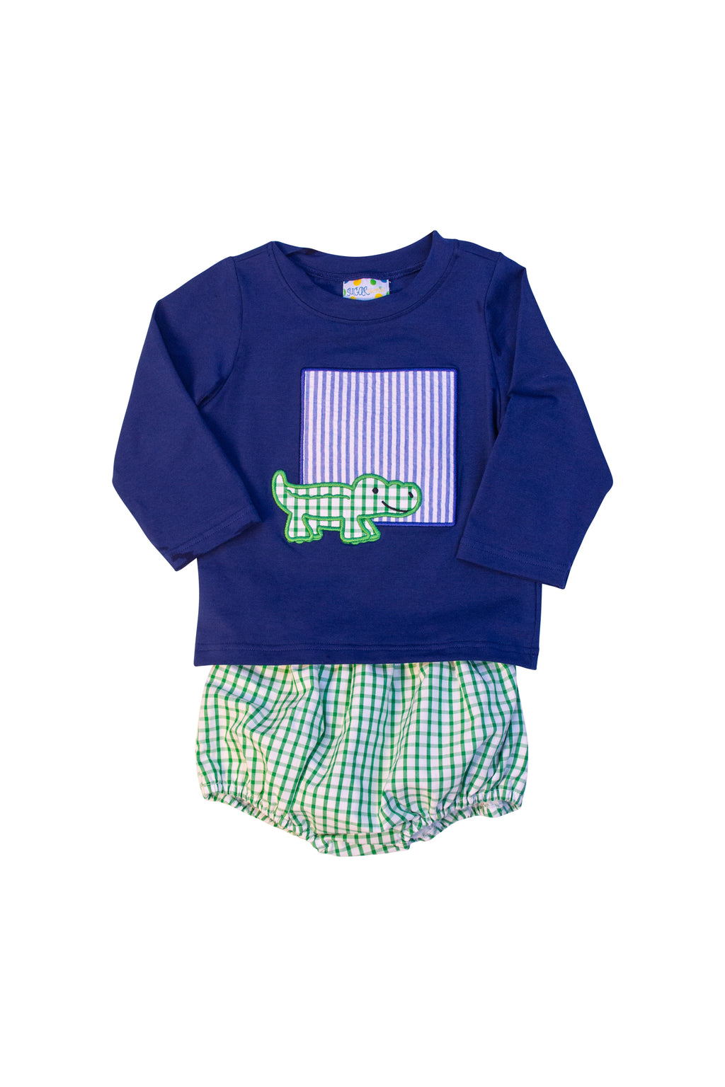 Boys Alligator Monogram Long Sleeve Diaper Set