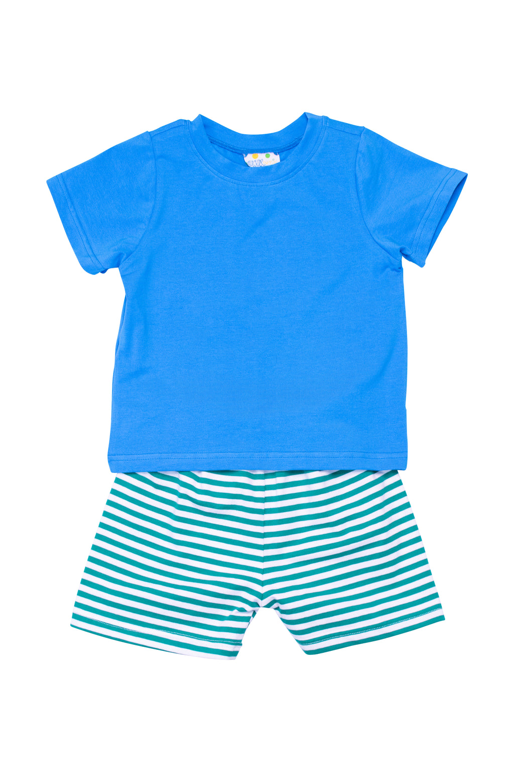 Boys Knit Aqua/Green Stripe Shorts Set