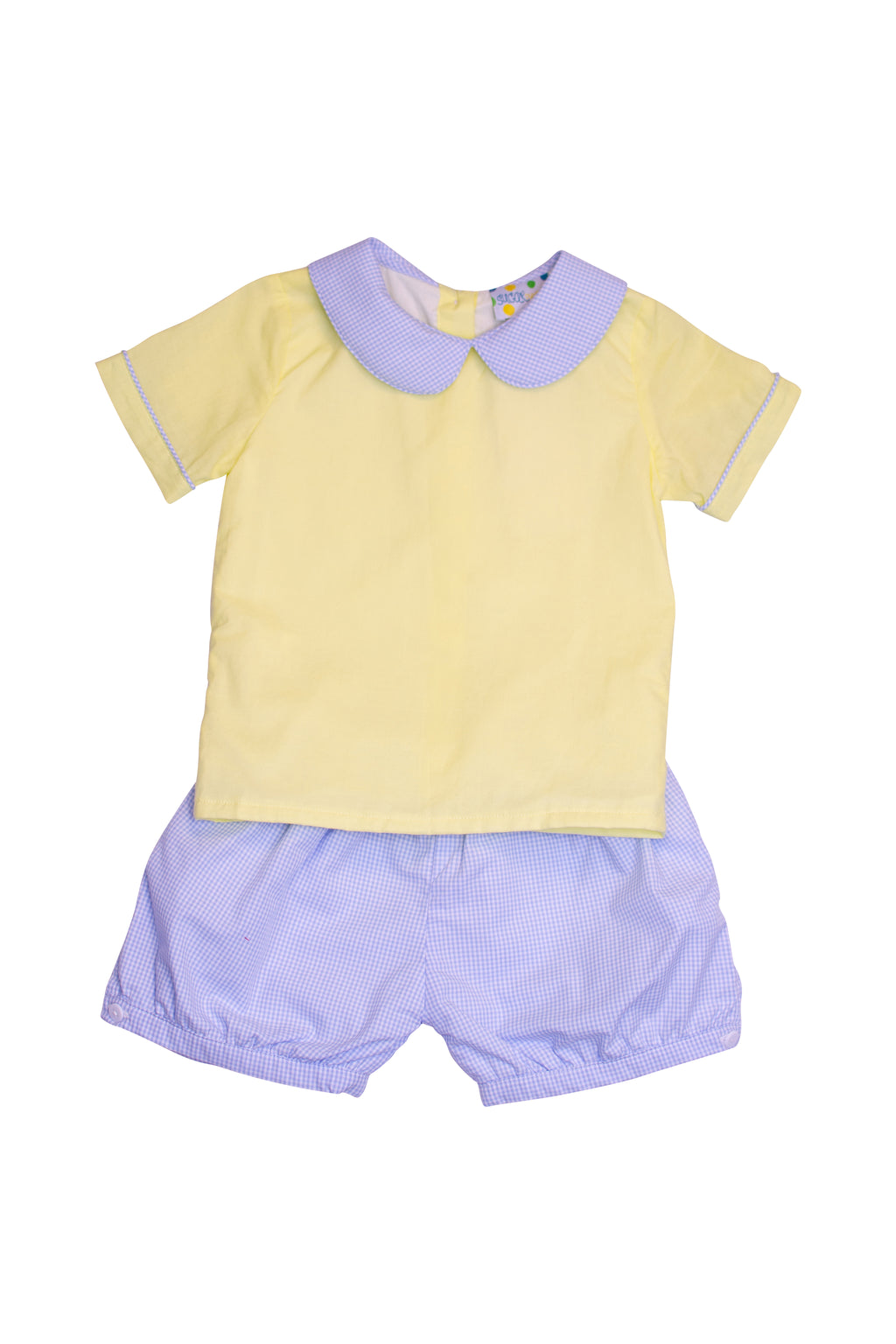 Boys Yellow/Blue Banded Shorts Set