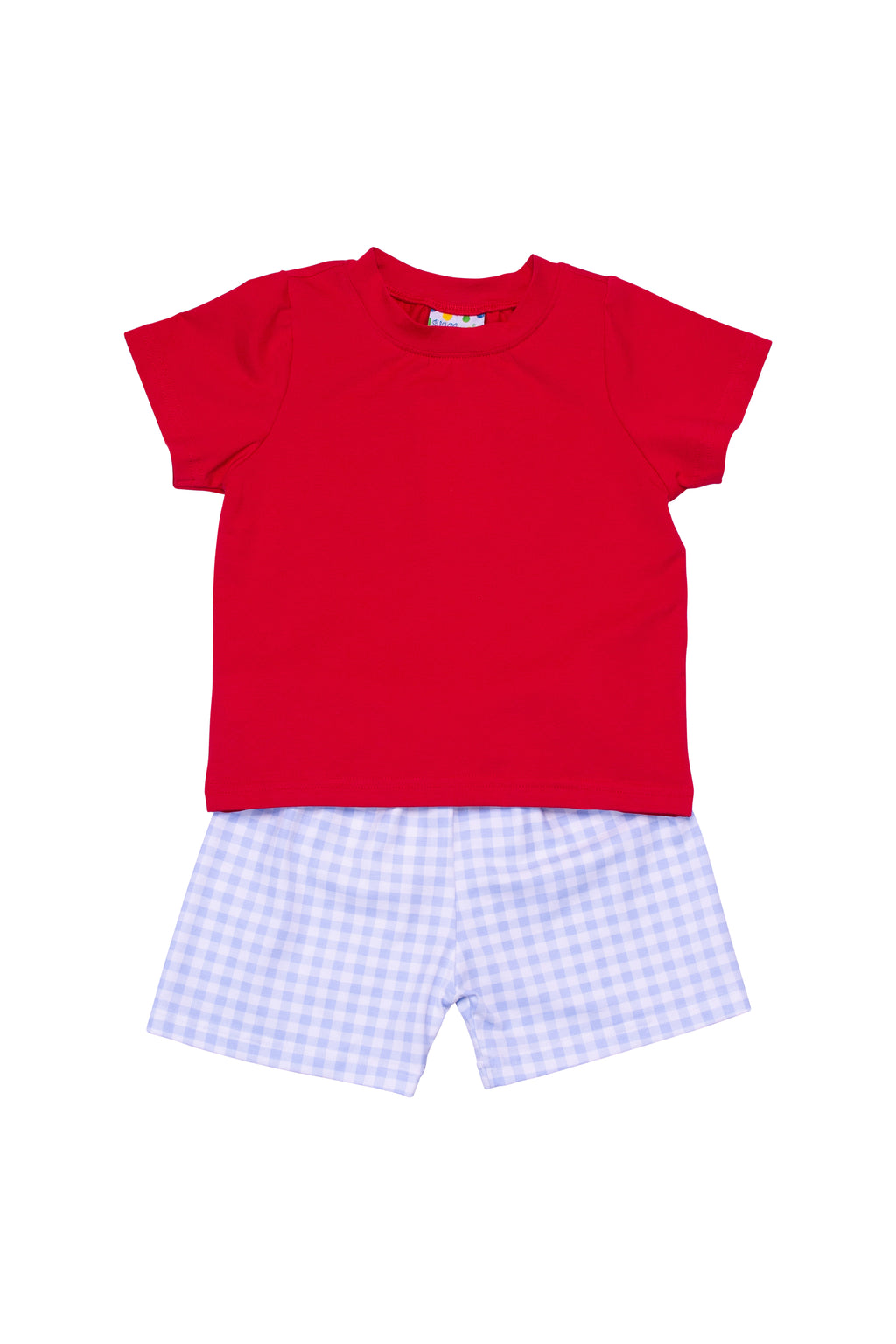 Boys Knit Red/Blue Check Shorts Set