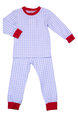 Boys Knit Blue Check/Red PJ