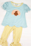 Girls Turkey Applique Knit Pants Set