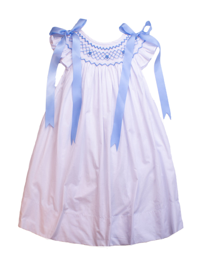 Girls White/Blue Geometric Smocked Bishop Dress
