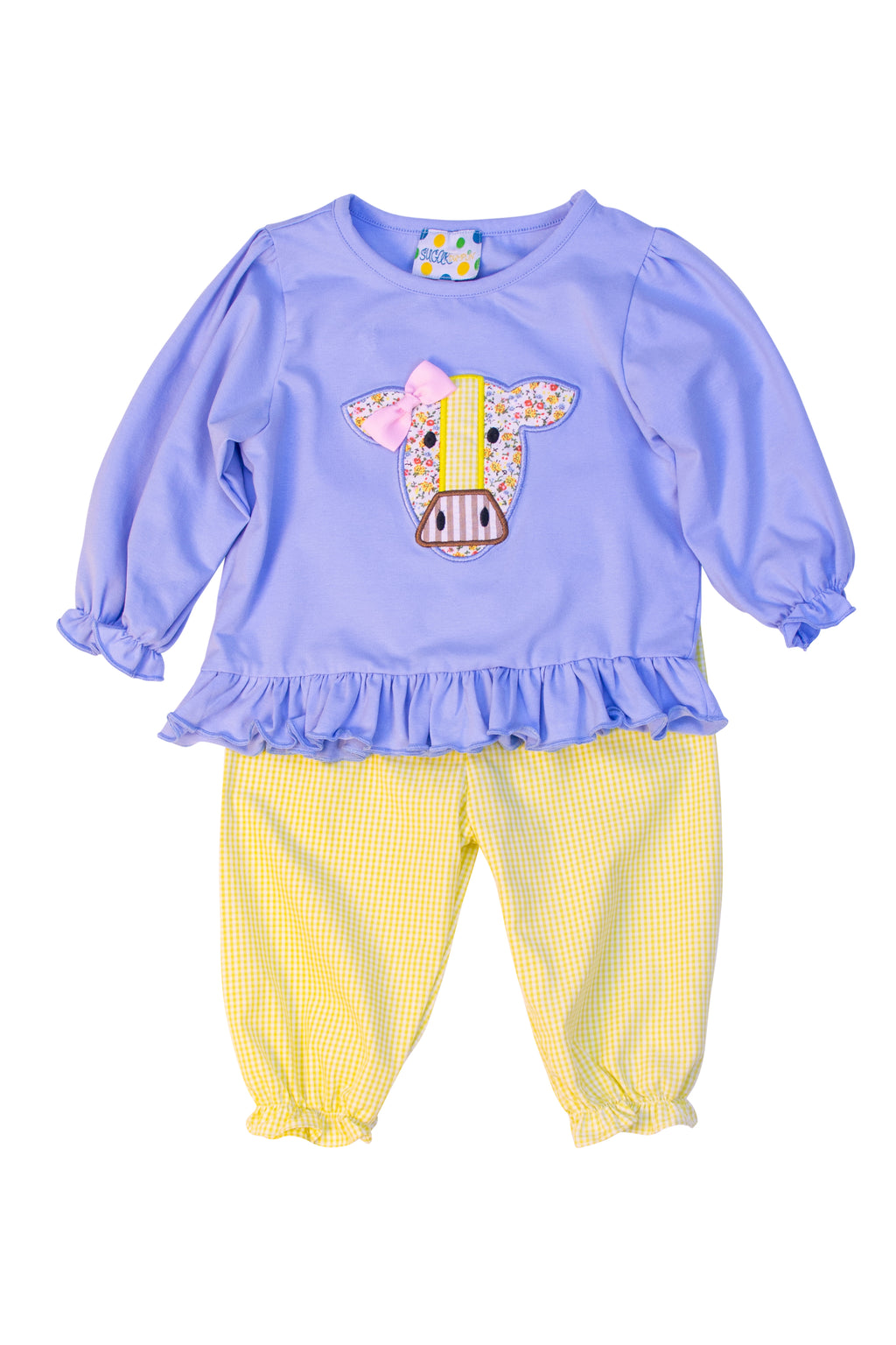 Girls Cow Applique Pant Set