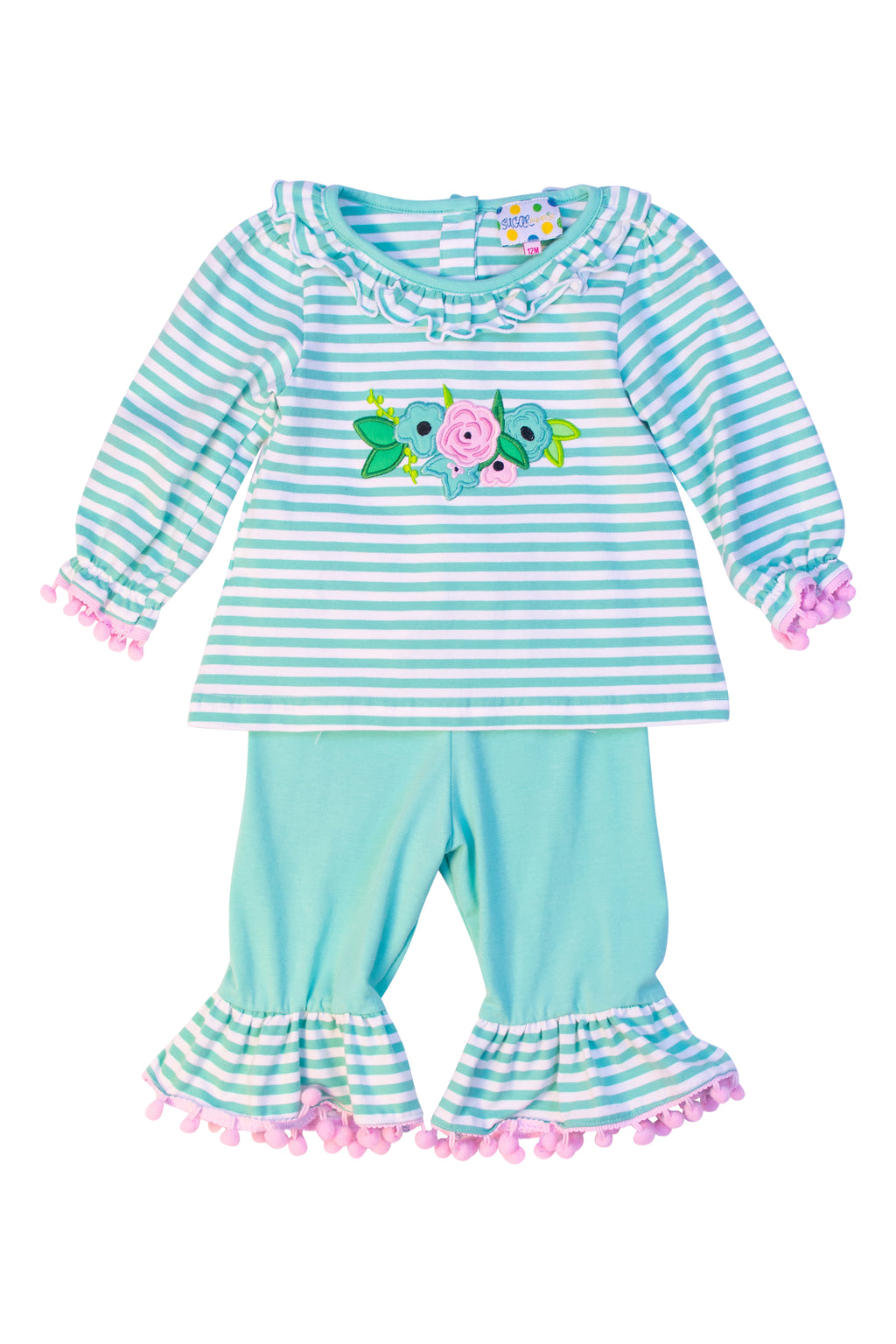 Girls Knit Mint Floral Applique Pant Set