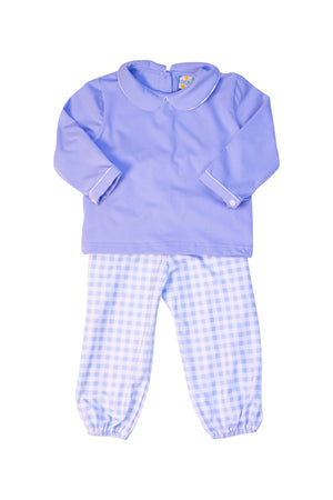 Boys Blue Knit Collared Pant Set