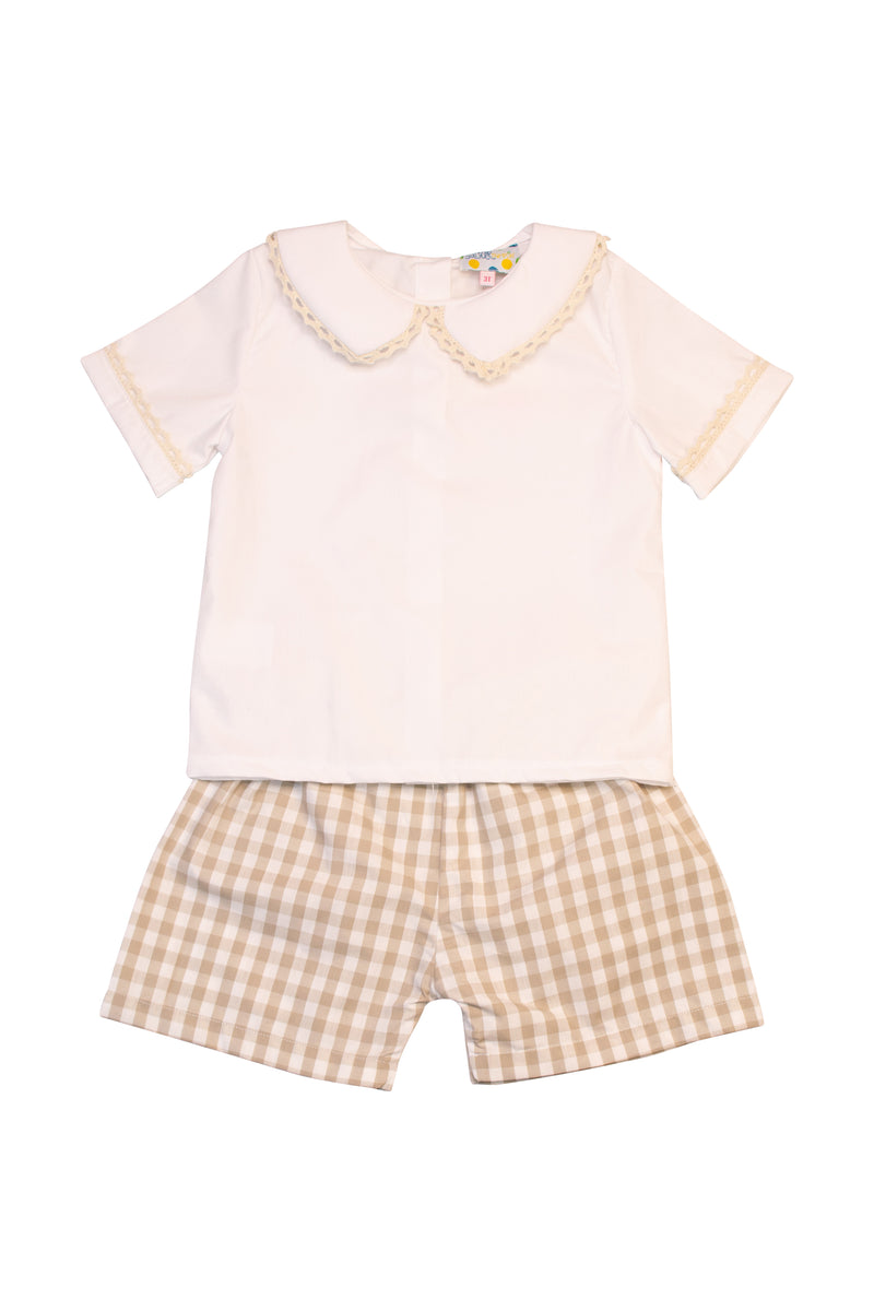 Boys White/Tan Gingham Collared Shorts Set