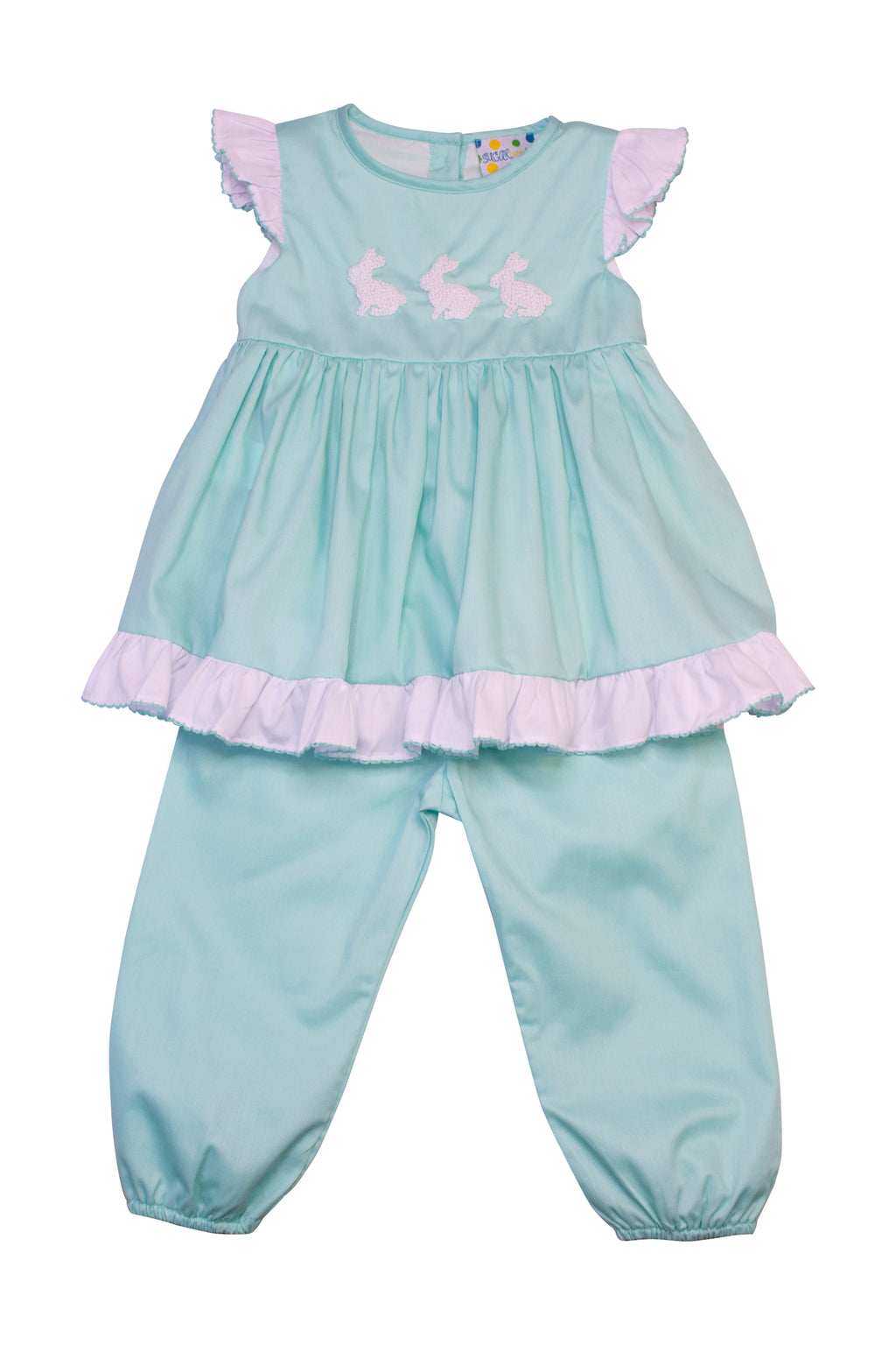 Girls Mint French Knot Bunny Pantaloon Set