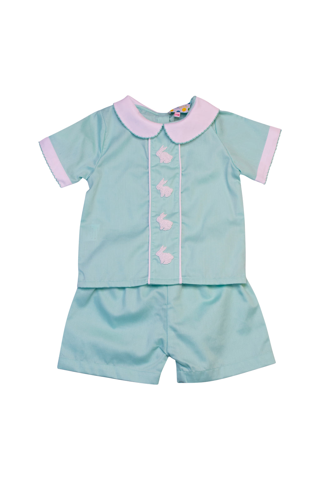 Boys Mint French Knot Bunny Shorts Set