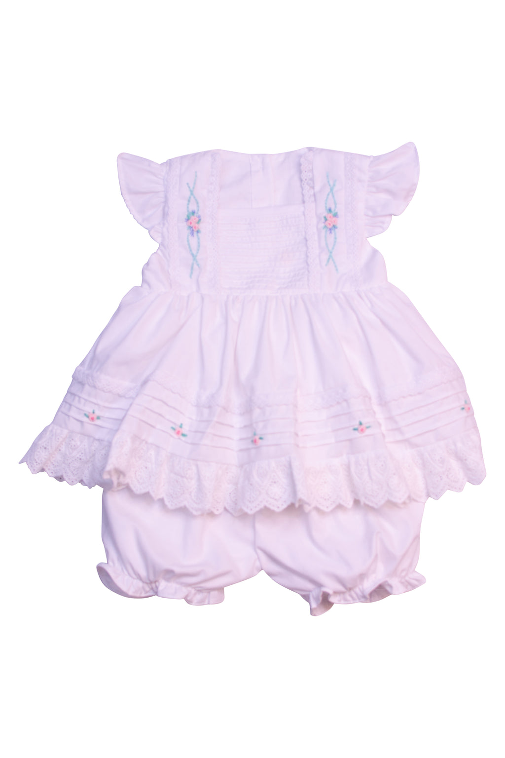 Girls White Pleated Floral Embroidery Bloomer Set
