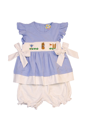 Girls Knit Smocked Rabbit Bloomer Set
