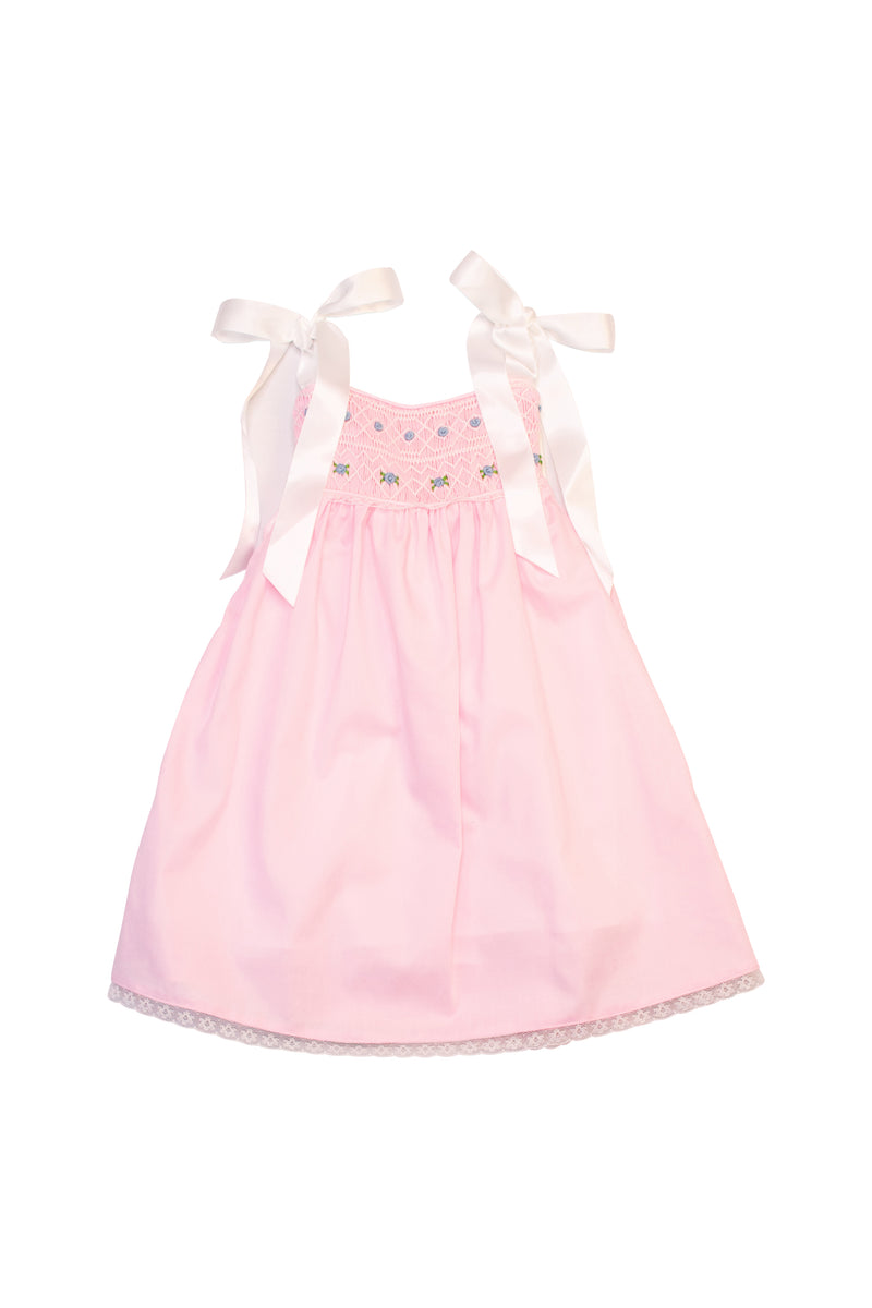 Girls Pink Smocked Dress with Ribbon