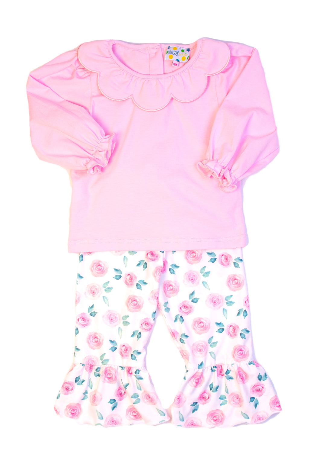 Girls Pink Knit/Floral Scalloped Collar Pant Set