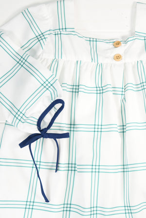 Girls Green and Navy Plaid Dress