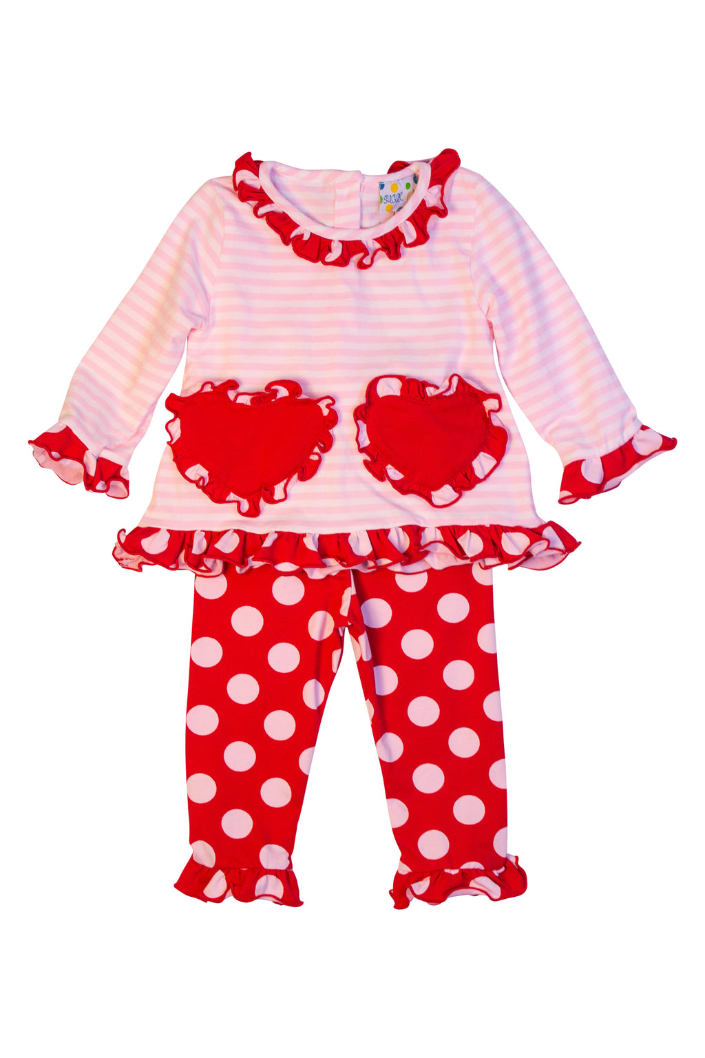 Girls Knit Valentine Pocket Pant Set