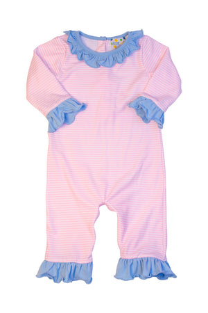Girls Knit Pink Stripe/Blue Ruffle Romper
