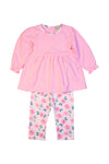Girls Knit Pink/Floral Legging Set