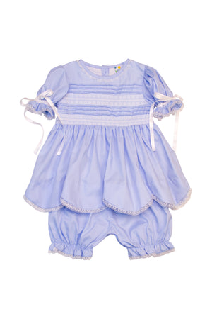 Girls Blue Pleated Bloomer Set