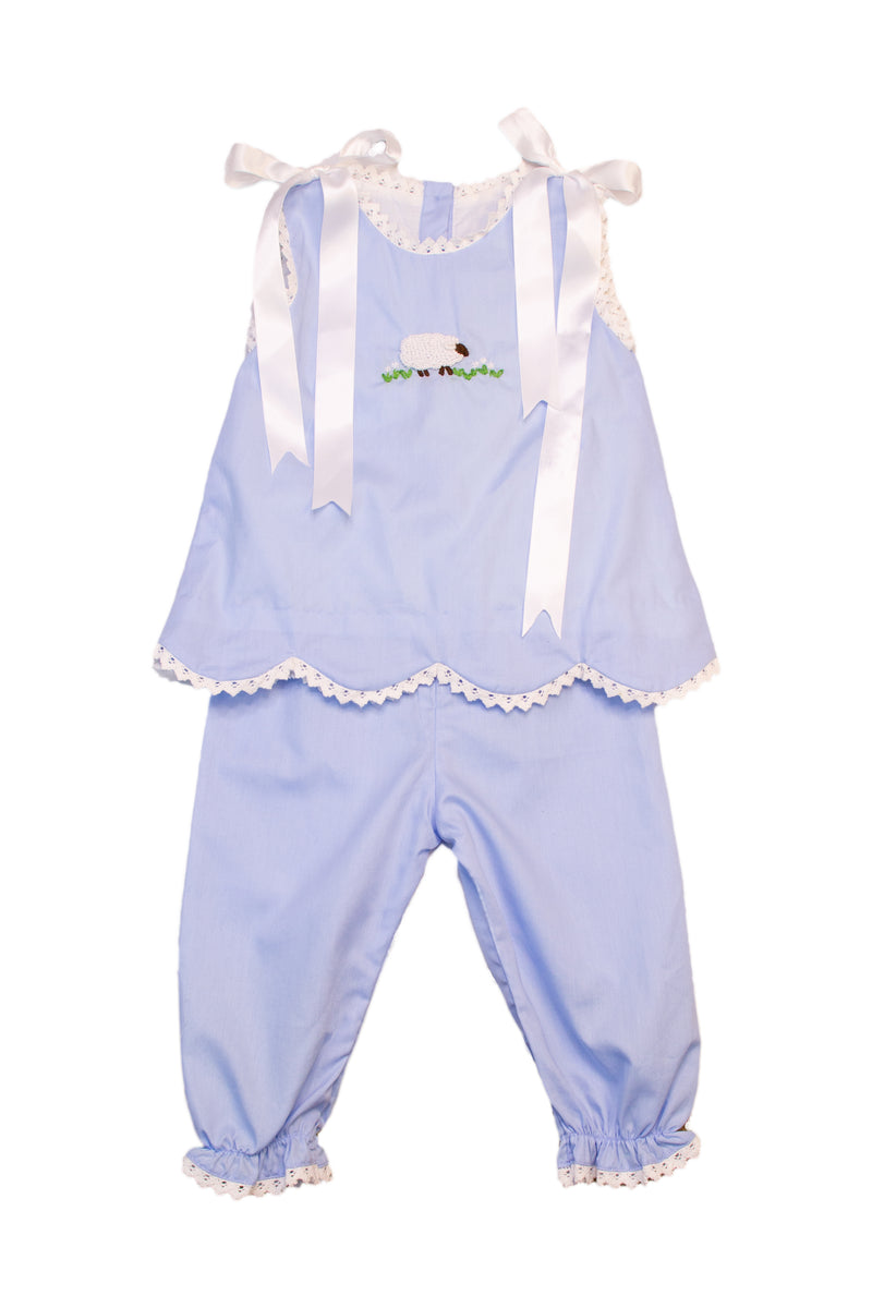 Girls French Knot Lamb Pantaloon Set