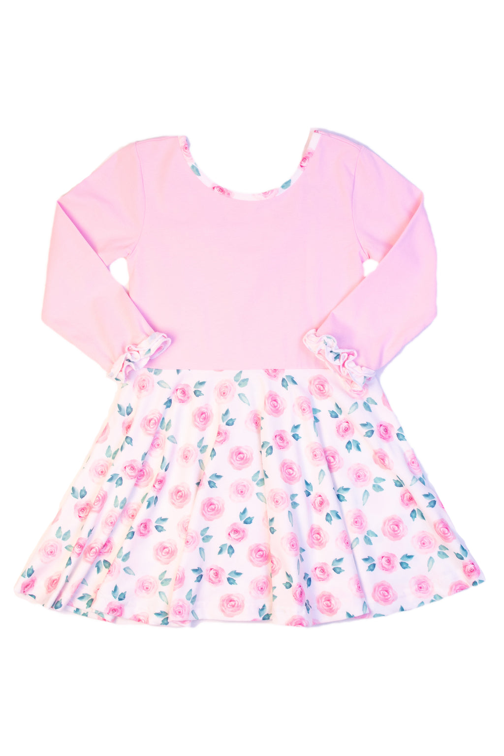 Girls Knit Pink/Floral Twirl Dress
