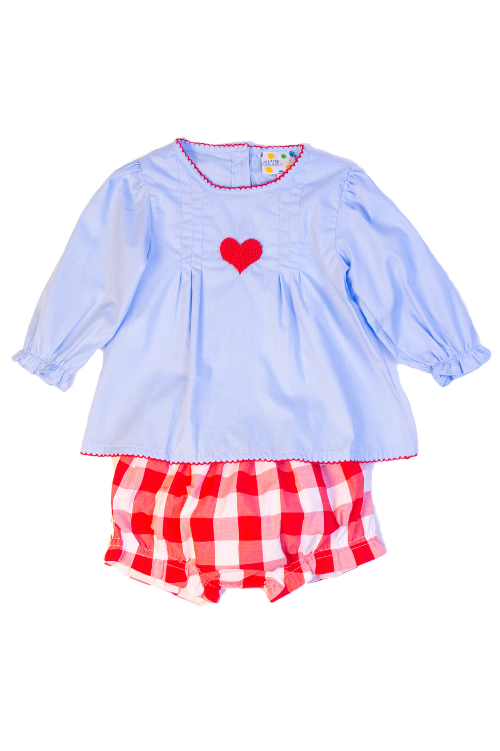 Girls French Knot Heart Bloomer Set