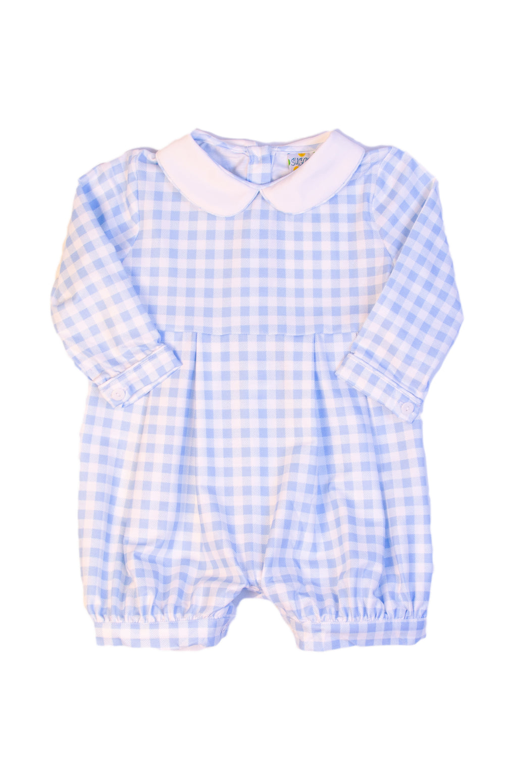 Boys Knit Blue Check Collared Romper