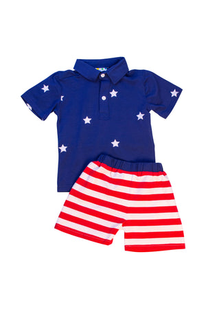 Boys Embroidered Star Short Set