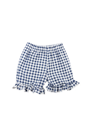 Girls Navy Gingham Shorts