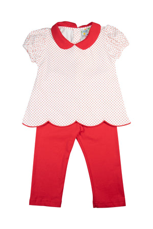 Girls Simply Knit Red Pants Set