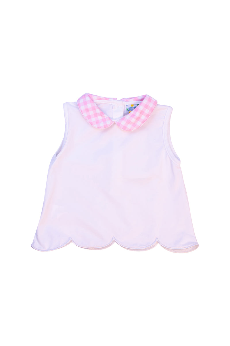Girls Knit  Pink Gingham Collared Shirt