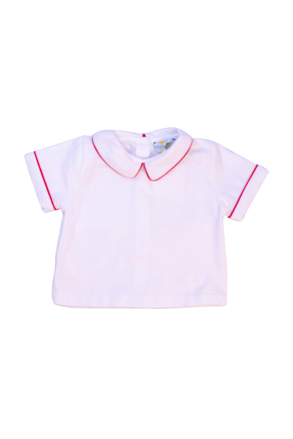Boys Knit Red Trim Collared Shirt